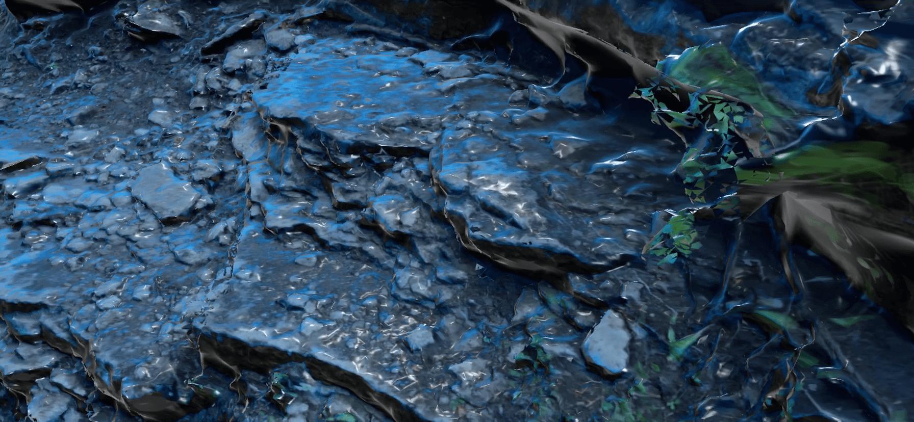 コンクリートが山道に!?WEBARで濡れた岩肌を置いてみた。